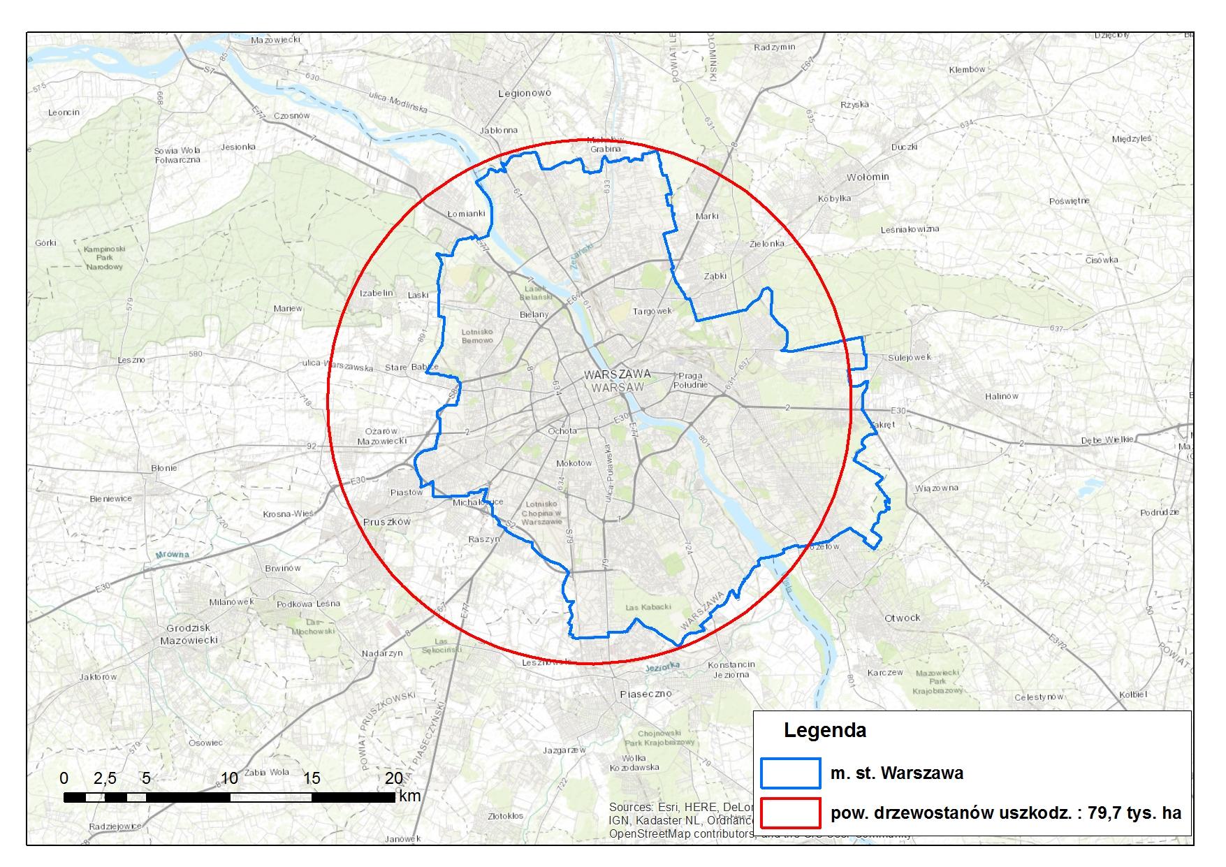 Mapa porównująca obszar klęski z obszarem Warszawy