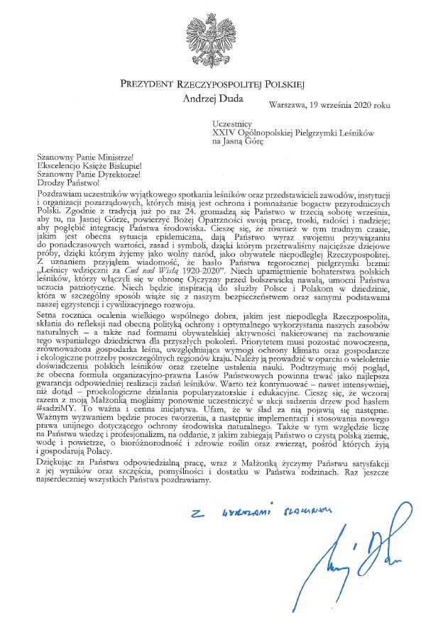 List prezydenta Andrzeja Dudy do uczestników pielgrzymki.jpg